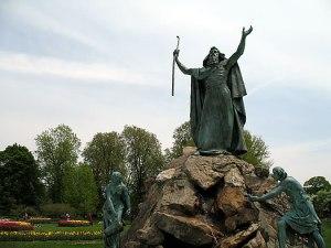 Moses fountain in Washington Park, Albany, NY.